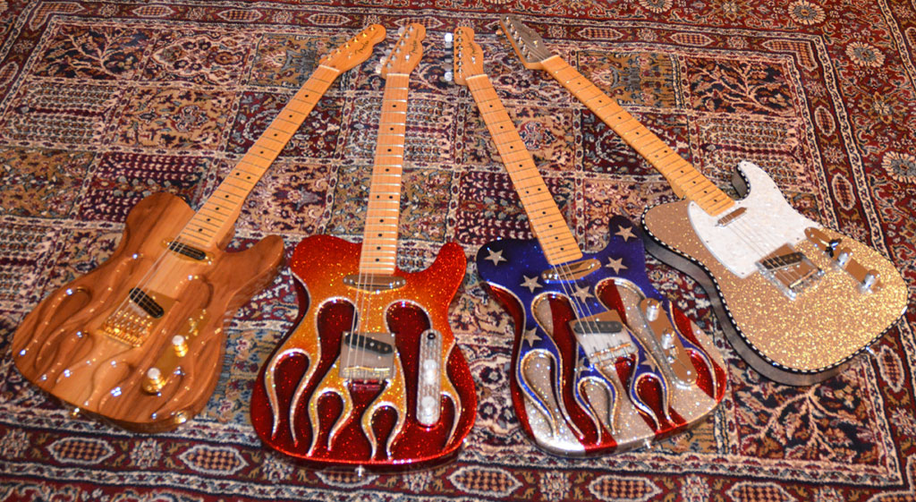 Carved Flame Walnut, Hot Rod Sparkle Carved Flame, Flag Sparkle Carved, Buck Owens/Don Rich Silver Sparkle Tribute Telecasters